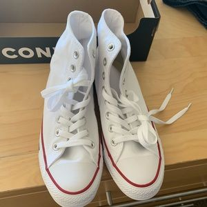 Converse Shoes - White converse all star hi top size 8.5 women